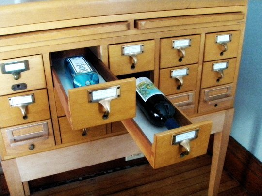 library card drink cabinet
